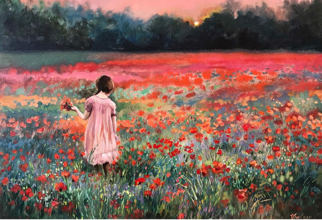 Mädchen im Mohnblumenfeld