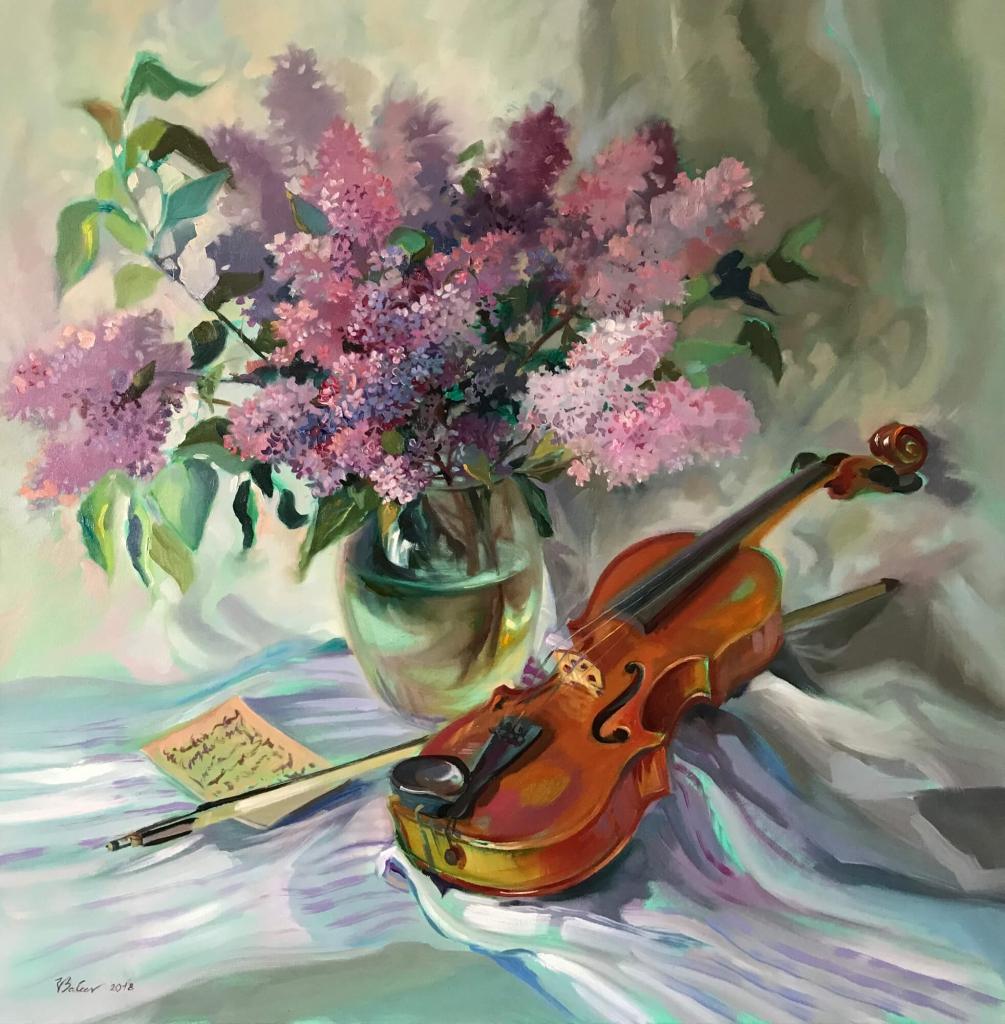 Stillleben mit Violine und Flieder