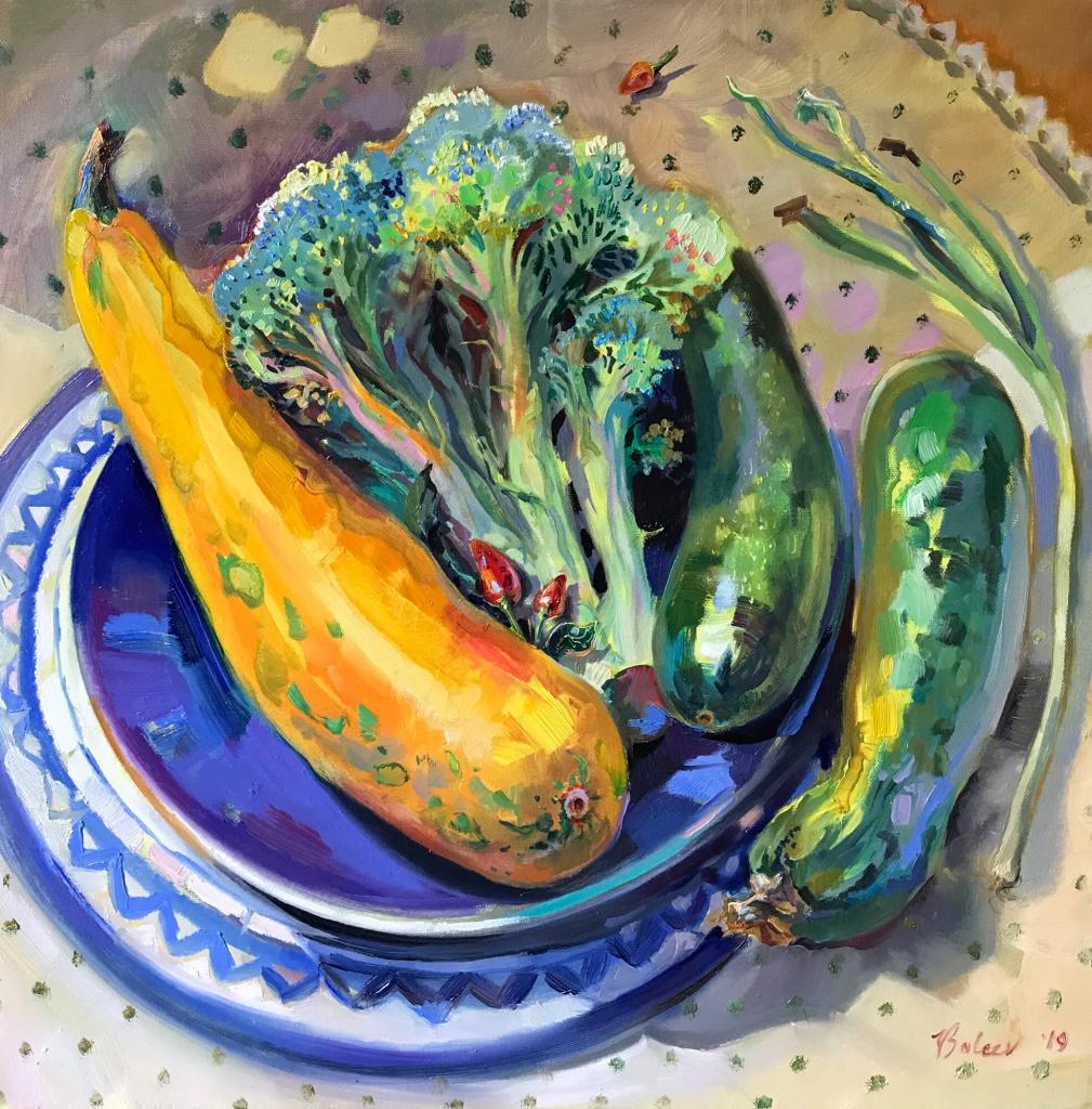 Stillleben mit Zucchini und Brokkoli