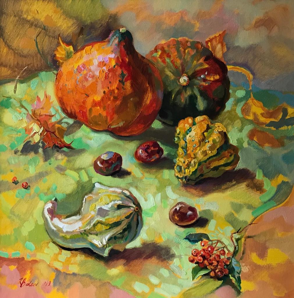 Herbststillleben mit Kürbissen und Kastanien